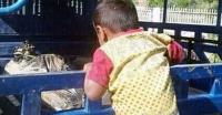 মায়ের লাশ দেখতে পুলিশের গাড়িতে ছোট শিশু